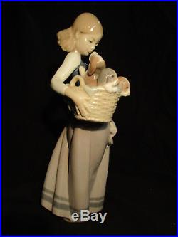 LLADRO Society Figurine #1311 Girl with Puppies/ Dogs on Hip RETIRED in Box