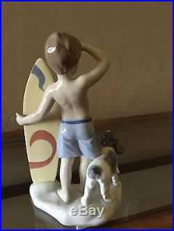 LLADRO Surfs Up Boy with Surfboard and Dog #8110