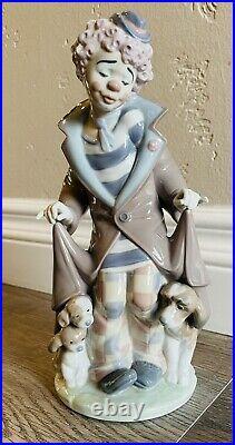 LLADRO Surprise Retired Porcelain Clown Figurine #5901 Jon Huerta Dogs Puppies