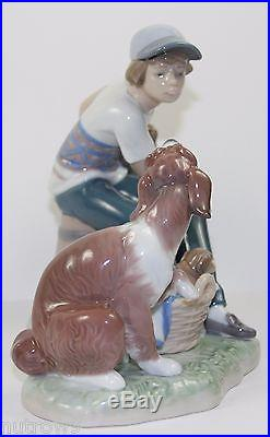 LLADRO THIS ONE'S MINE #5376 FIGURINE BOY WithDOG & PUPPIES PERFECT