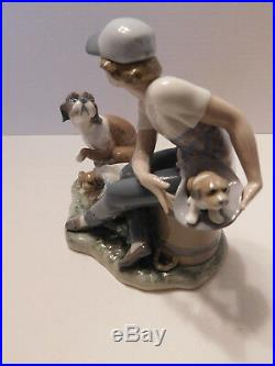 LLADRO This One's Mine Porcelain Boy With Dog And Puppies Figurine 5376 MINT