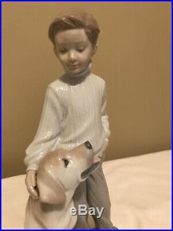 LLadro My Loyal Friend Figurine Boy petting Labrador dog