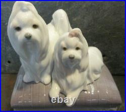 LLadro Sitting Pretty 6688 Maltese Dogs On Bench