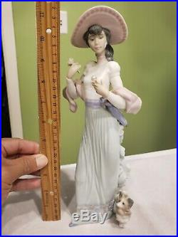 Lady With Flower Walking Puppy Dog With Umbrella By Lladro #6246 Rare 11