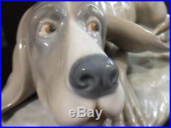 Large Early Lladro Bloodhound Dog With Basset Hound Puppy Figurine