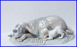 Large Early Lladro Dog With Puppy Figurine