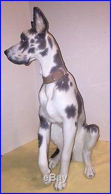 Large LLADRO GREAT DANE 6558 Porcelain Dog Figurine 18 Tall