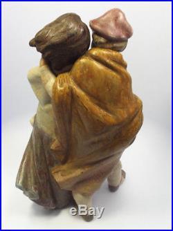 Large Lladro Figurine #1279 Facing The Wind, Boy Girl & Dog, Gres Finish