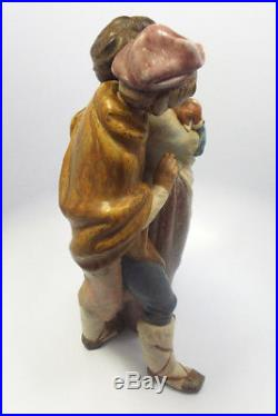 Large Lladro Figurine #1279 Facing The Wind, Boy Girl & Dog, Gres Finish