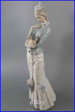 Large Lladro Figurine Walk With The Dog #4893 by Jose Roig, Retired
