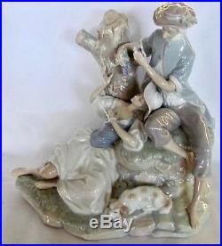 Large Lladro Group Figurine Lovers Eating Grapes by Tree Stump with Dog