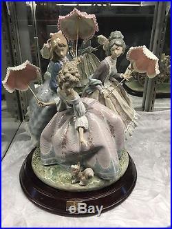 Large Ltd. Edition Lladro #1492 Three Sisters Umbrella Dog MINT withBase