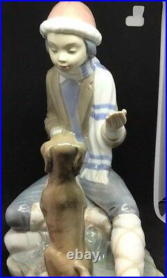 Large Nao Lladro Figurine Seated Boy With His Begging Dog Excellent Condition