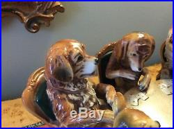 Large porcelain figurine with 5 dogs playing cards