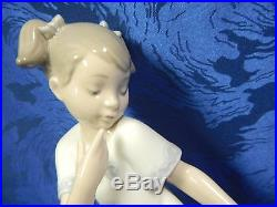 Let Me Go Girl With Dog Female Porcelain Figurine Nao By Lladro #1434
