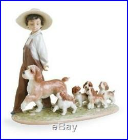 Little Explorers Boy With Puppy Dogs Lladro Porcelain 6828