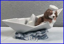 Little Stowaway Puppy Dog Paper Boat Figurine By Lladro #6642