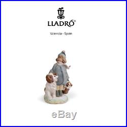 Lladro 01012517 Winter Wind Gres Figurine, Girl with Dogs ornament, Collectible