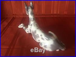 Lladro 1068 White Gray Great Dane Dog Puppy Mint Retired Porcelain Figurine Rare
