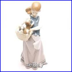 Lladro #1311 Dogs On Hip Girl with Puppies in Basket Figurine
