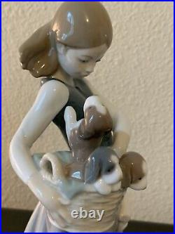 Lladro 1311 Girl with Puppies girl w little dogs on her hip