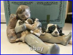 Lladro #1535-SWEET DREAMS, boy withdogs sleeping figurine in original box