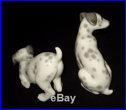 Lladro 2 Dalmatian Dogs Collection Retired Porcelain Figurines # 1260-61 Mint