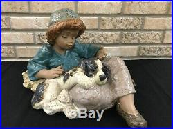 Lladro 2207 What A Day Farmer Girl With Dog Porcelain Statue Matte Rare Retired