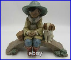 Lladro 2237 The old fishing hole or A boy and his dog excellent cond. Lost pole