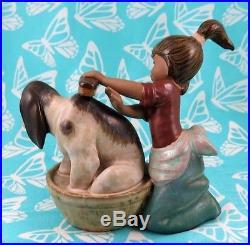 Lladro # 2273 BASHFUL BATHER Girl WithDog & Tub Gres BUY1 GET1 50% OFF