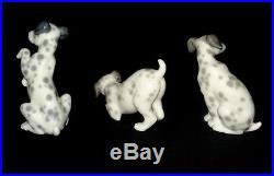 Lladro 3 Dalmatian Dogs Retired Porcelain Figurines Coll. # 1260-61-62 Mint