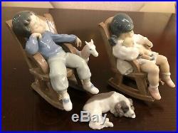 Lladro 3x Figurines Set Boy Girl Nap Time Rocker Chair Sleeping Dog 05846 05448
