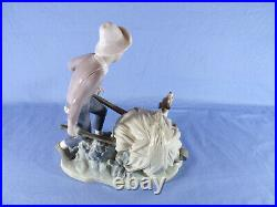 Lladro 4582 Boy With Wheelbarrow & Dog By Salvaor Furio