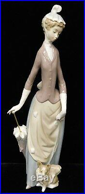 Lladro #4761Woman Figurine with Umbrella and Dog