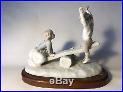 Lladro 4867 Children See Saw with Dog Matte Glazed Porcelain Figurine Retired 9