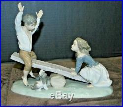 Lladro #4867 Girl & Boy with Dog on Seesaw Porcelain Figurine With Box EUC