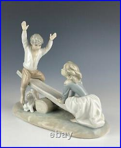 Lladro 4867 Seesaw Boy & Girl Playing With Dog Mint Condition No Box