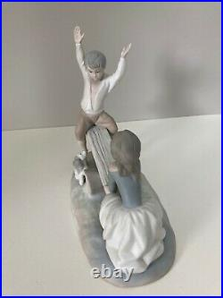 Lladro #4867 Seesaw Boy and Girl with Dog Porcelain Figurine Matte Finish