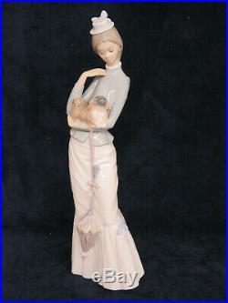 Lladro 4893 Walk the Pekingese Dog Lady with Umbrella Porcelain Figurine 792B