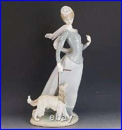 Lladro #4914 Lady With Shawl & Afghan Dog