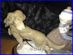Lladro #5037 Dog Pulling Sleigh with Children Retired 1996 MINT