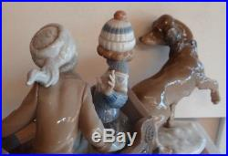 Lladro 5037 Sleigh Ride Dog Pulling Sled With Two Children retired