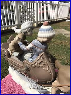 Lladro 5037 Sleigh Ride Dog Pulling Sled With2 Kids Mint Condition