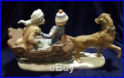 Lladro 5037 Sleigh Ride Dog Pulling Sled With2 Kids retired