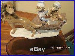 Lladro 5037 Sleigh Ride Retired 1996 Christmas Winter Dog Wood Base Children