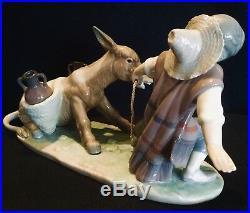 Lladro #5178 Boy And Dog Pulling Stubborn Donkey Nib