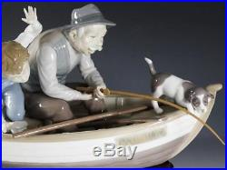 Lladro #5215 Fishing With Gramps Figurine -Mint! With Orig Base -Boy Boat Dog