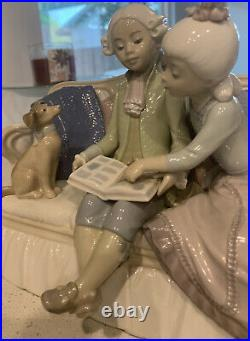 Lladro #5229 Story Time Brand Girl Boy Couch Dog Rare! Retired! Free Shipping