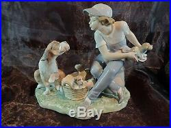 Lladro #5376 This One's Mine- Boy With Dog & Puppies Porcelain Fig