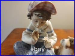 Lladro #5450 Boy with Dog I HOPE SHE DOES Spain